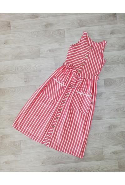 Pafim Kolsuz Çizgili Elbise