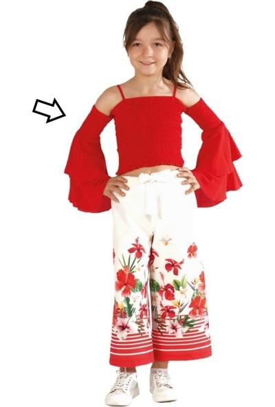 Zekids Kız Çocuk Fırfırlı Bluz Kırmızı - 14 Yaş