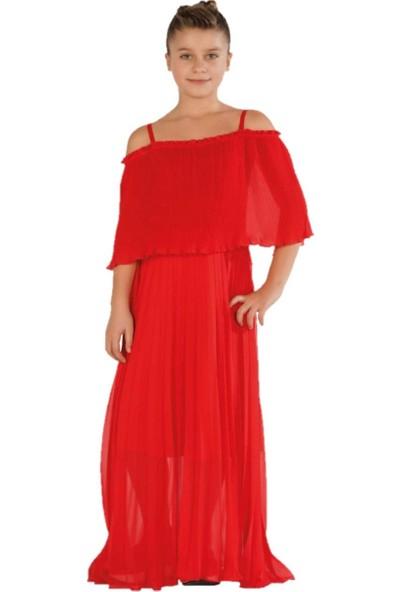 Zekids Kız Çocuk Özel Gün Elbisesi Kırmızı - 14 Yaş