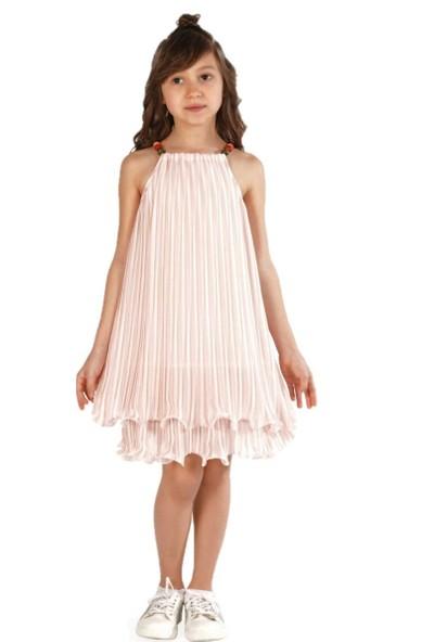 Zekids Kız Çocuk Çizgili Elbise Pudra - 14 Yaş