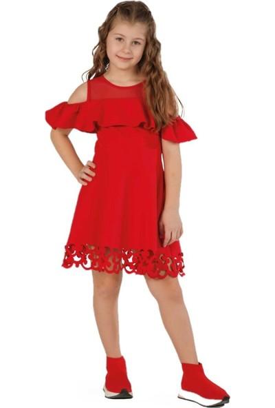 Zekids Kız Çocuk Lazer Kesimli Elbise Kırmızı - 7 Yaş