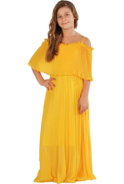 Zekids Kız Çocuk Fileli Elbise Sarı - 14 Yaş