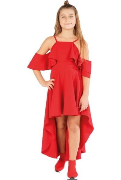 Zekids Kız Çocuk Önü Kısa Arkası Uzun Elbise Kırmızı - 7 Yaş