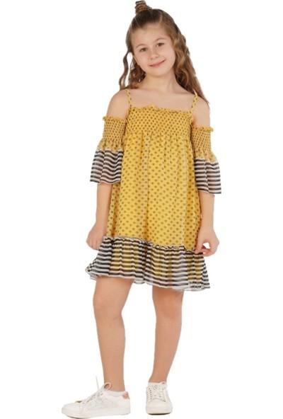 Zekids Kız Çocuk Göz Elbise Sarı - 12 Yaş