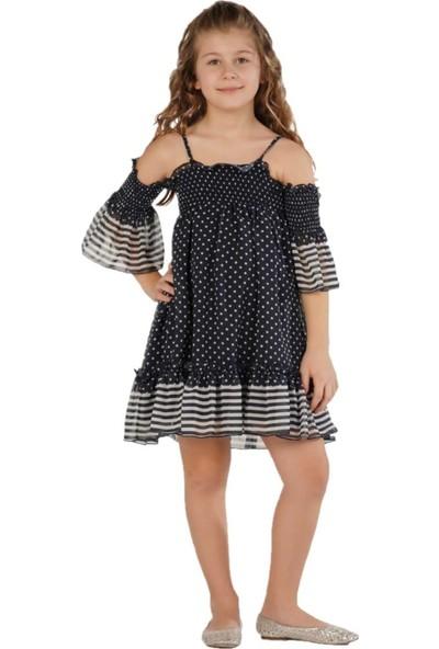Zekids Kız Çocuk Laci Puanlı Elbise Lacivert - 12 Yaş