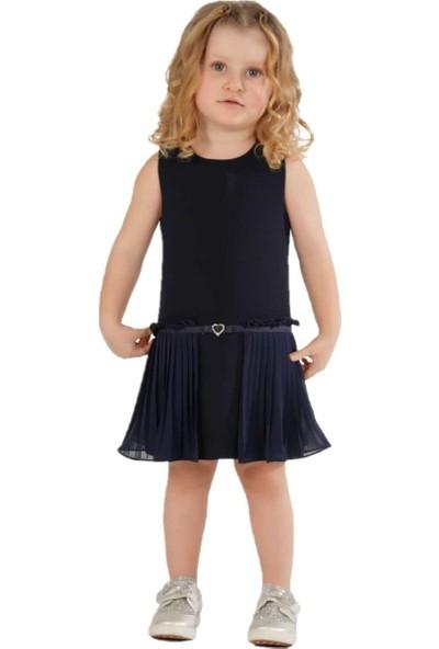 Zekids Kız Çocuk Piliseli Elbise Lacivert - 2 Yaş