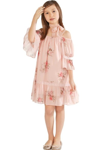 Zekids Kız Çocuk Çiçekli Elbise Pudra - 10 Yaş