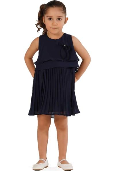 Zekids Kız Çocuk Eteği Pileli Elbise Lacivert - 6 Yaş