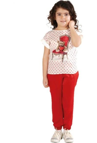 Zekids Kız Çocuk Şalvarlı Pantolon Kırmızı - 4 Yaş