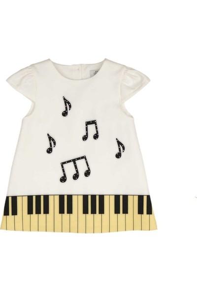 Zekids Kız Bebek Piyano Nota Desenli Elbise Krem - 3-6 Ay