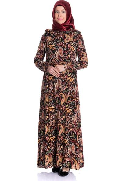 Erva Kadın Yakası Lastikli Şal Desenli Lacivert Tesettür Elbise