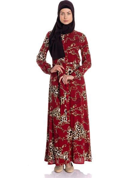 Erva Kadın Gömlek Yaka Desenli Bordo Elbise