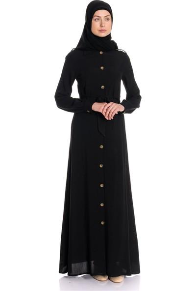 Erva Kadın Gömlek Yaka Kemerli Siyah Ferace Elbise