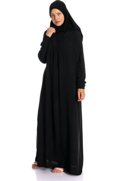 Erva Kadın Yakası Büzgülü Siyah Salaş Elbise