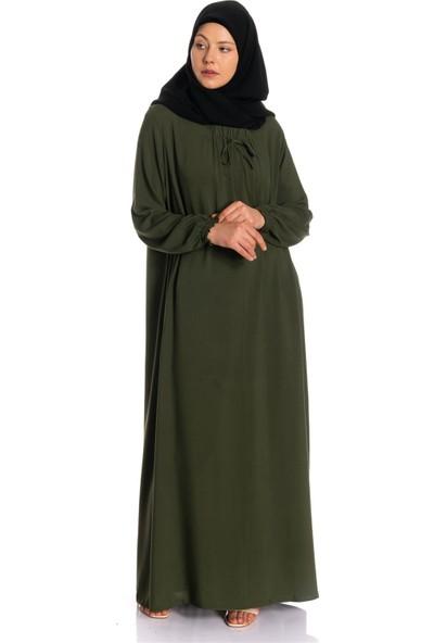 Erva Kadın Yakası Büzgülü Haki Salaş Elbise
