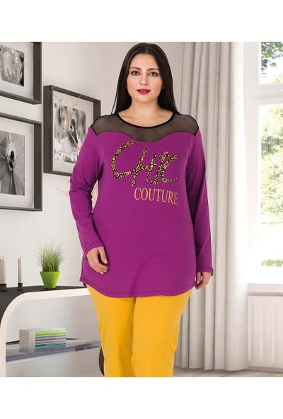 Lady Lingerie Omuzlardan File Detaylı Battal Kadın Pijama Takım 154
