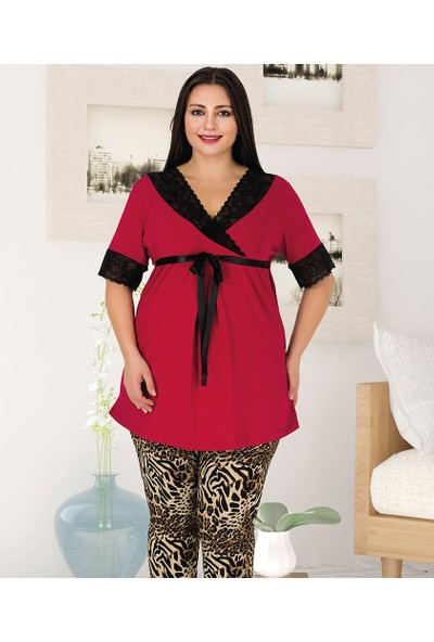 Lady Lingerie Leopar Desenli Battal Kadın Pijama Takım 404