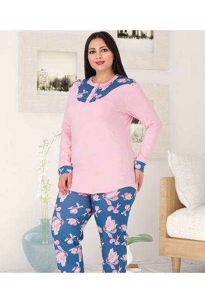 Lady Lingerie Çiçek Baskılı Battal Kadın Pijama Takım 185