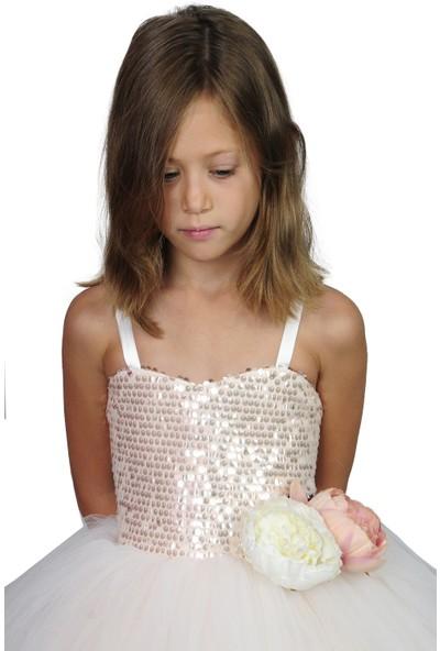 Butik Happy Kids Kız Çocuk Özel Tasarım Kasnaklı Kabarık Abiye Elbise Kız Çocuk Gelinlik