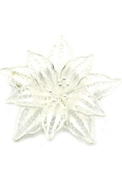Aykat Gümüş Broş Telkari Gümüş El Yapımı Bayan Yaka İğnesi Broşu Model Kadın Brs-145