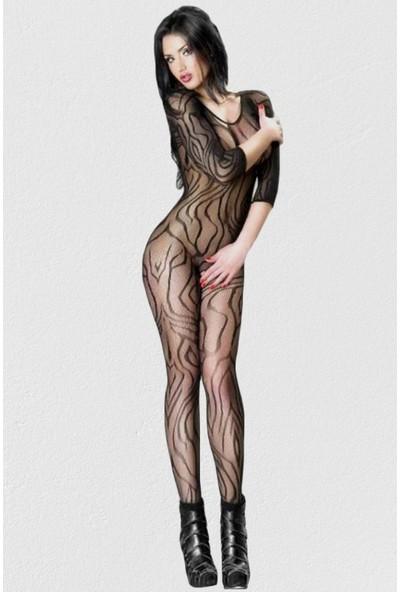 Mite Love Vücut Çorabı Dinamik Desenli Özel Bölgesi Açık