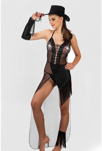 Mite Love Siyah Lame Deri Kovboy Kadın Kostümü Fantazi Giyim