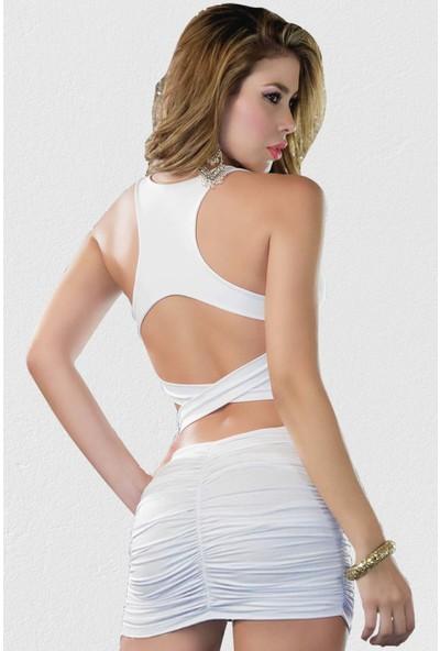 Mite Love Sırt Dekolteli Fantazi Elbise Beyaz