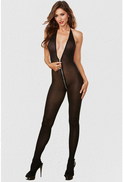 Mite Love Seksi Siyah Vücut Çorabı Fermuarlı Fantazi Giyim