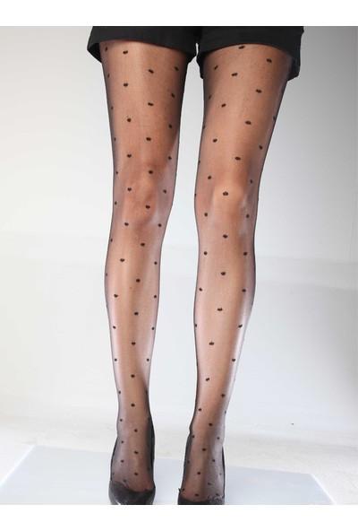 Mite Love Puantiyeli Külotlu Çorap Siyah