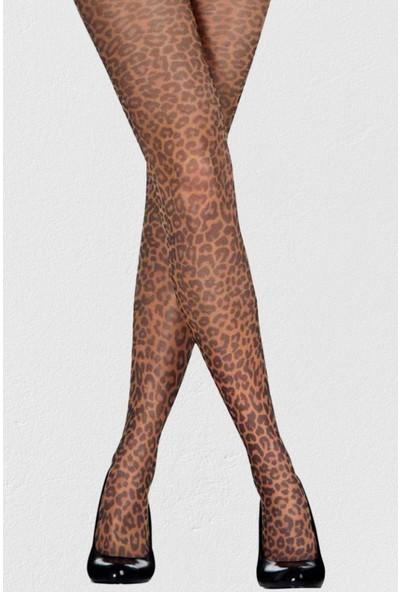 Mite Love Leopar Baskılı Mikro 40 Denye Külotlu Çorap