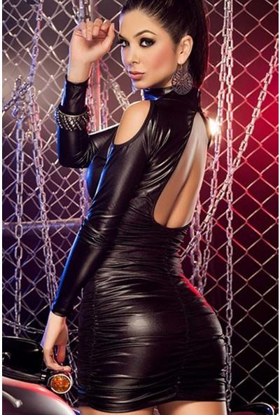 Mite Love Lame Düz Mini Elbise Fantazi Giyim Siyah