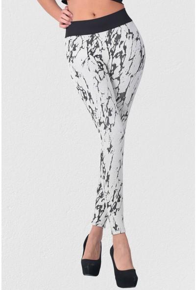 Mite Love Krem Kadın Tayt Örme Cotton Desenli