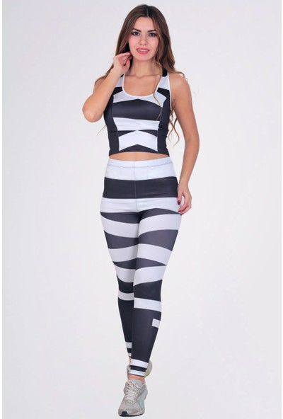 Mite Love Kadın Fitness Takım Siyah Beyaz Tayt