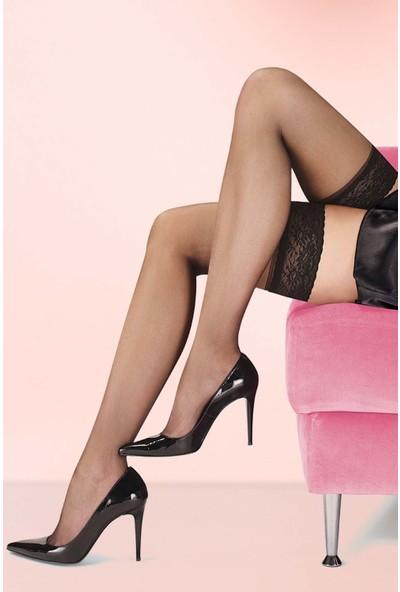 Mite Love Jartiyer Çorap Siyah Düz Silikonlu Dantelli