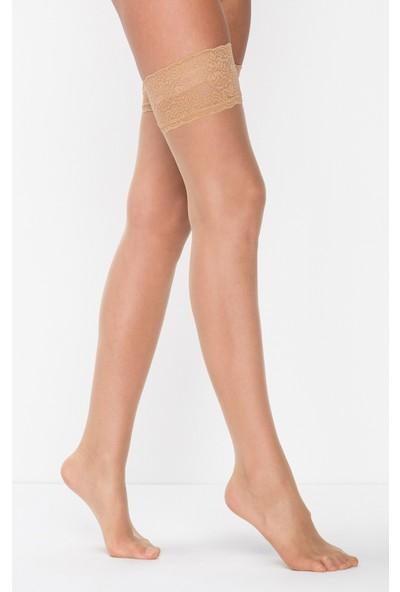 Mite Love Jartiyer Çorabı Ten Rengi Dantelli Silikonlu