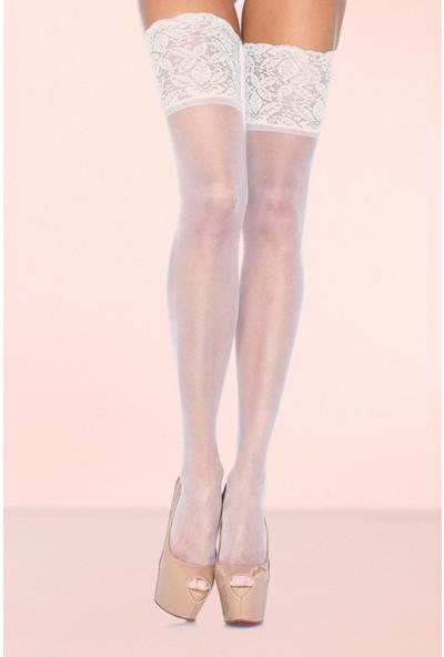 Mite Love Geniş Dantelli Jartiyer Çorabı Beyaz