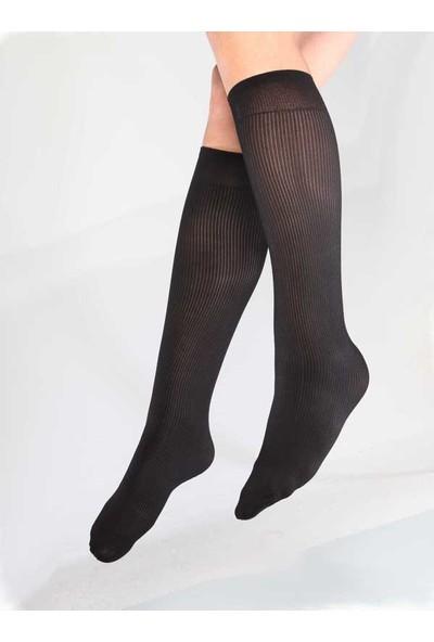 Mite Love Fitilli Diz Altı Siyah Çorap