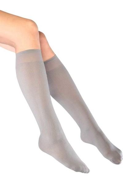 Mite Love Fitilli Diz Altı Gri Çorap