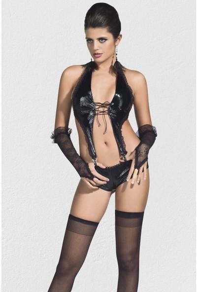 Mite Love Fantazi Kadın Giyim Lame Deri Takım Siyah