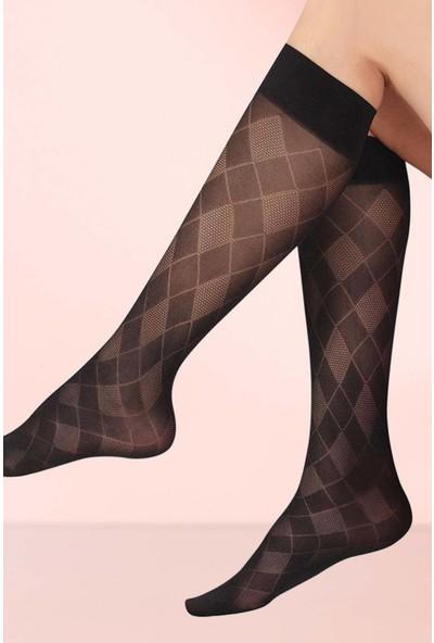 Mite Love Ekoseli Dizaltı Çorap Siyah
