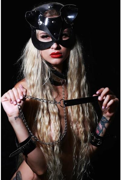 Mite Love Deri Fantazi Set Maske Kelepçe ve Boyunluk Gri