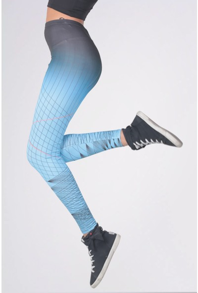 Mite Love Çizgili Mavi Sporcu Kadın Tayt