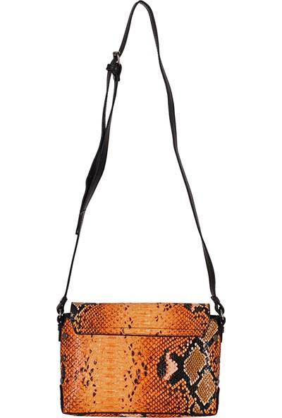 Fossil 022 Çapraz / Postacı Çanta Yılan Desenli Oranj