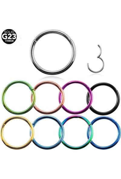VipBT Menteşeli G23 Titanyum Kıkırdak Burun Halkası Hızma Piercing 1.6 x10 mm
