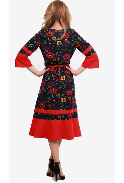 Ina Çiçekli Divitin Pazenden Garnili Şık Kışlık Elbise