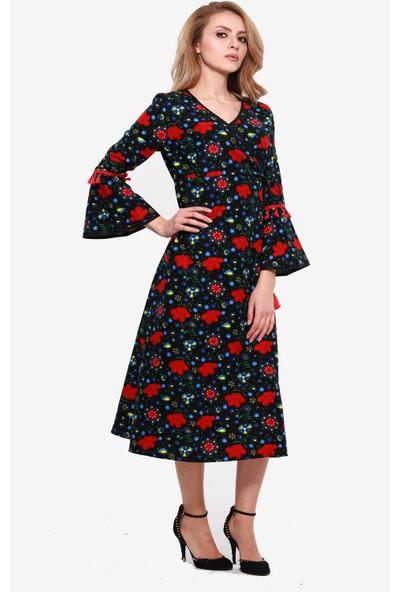 Ina Divitin Pazenden Kruvaze Kol Detaylı Uzun Kışlık Elbise