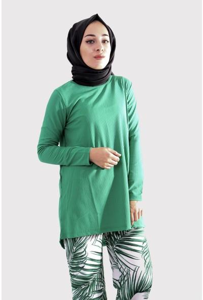 Modadım Kadın Yeşil Desenli İkili Takım