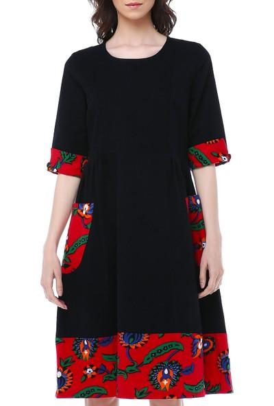 Divitin Pazenden Cepli Kolu Manşetli Kışlık Pazen Elbise
