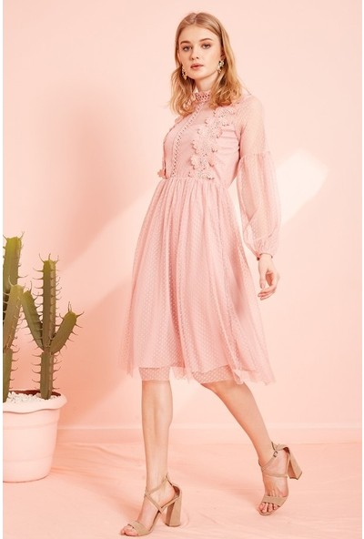 Eka Kadın Beli Lastikli Dantelli Elbise-Pudra