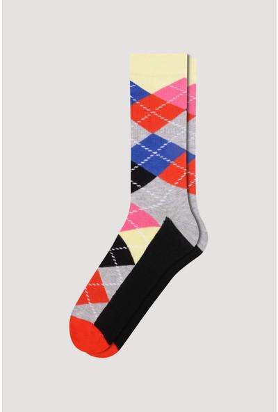 Bross Turuncu Renkli Ekose Desen Erkek Çorabı